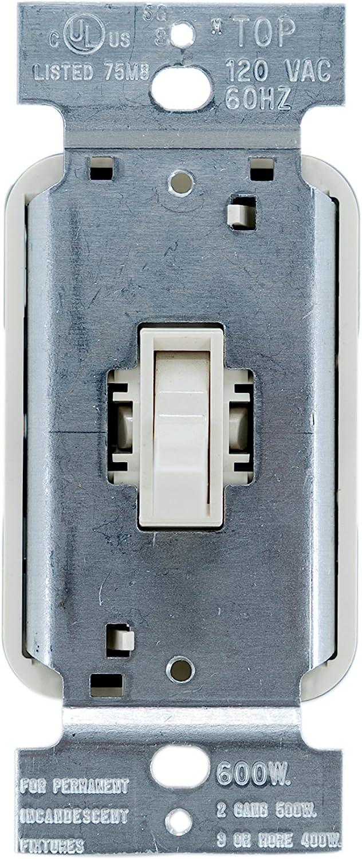 Pass /& Seymour T603IV Toggle Dimmer 600-watt Three Way Easy Install Ivory