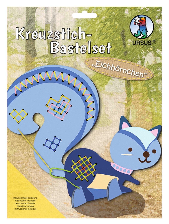 URSUS 21420004/F Punto Croce Kit per Bambini Scoiattolo Motivo