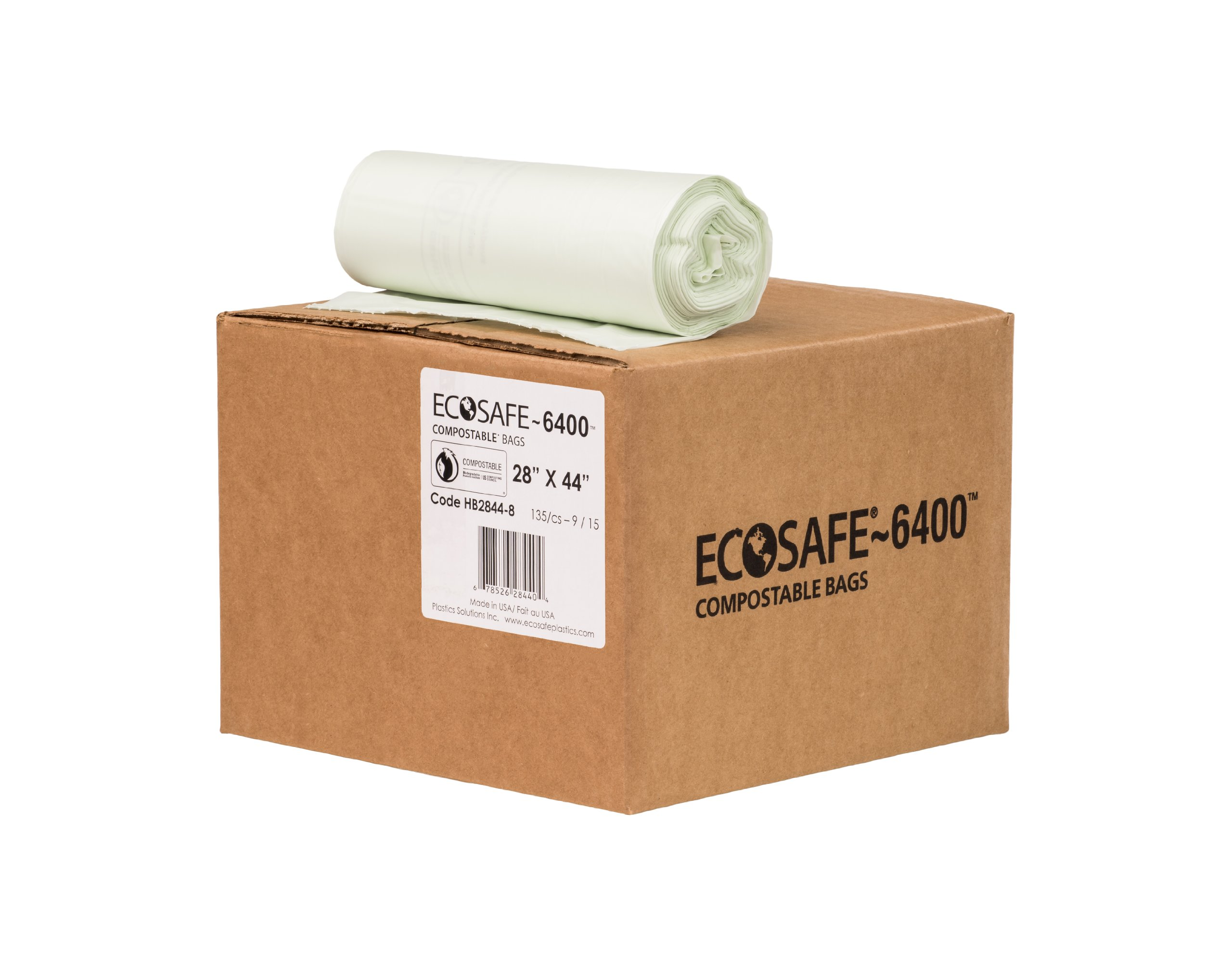 EcoSafe-6400 HB2844-8 Compostable Bag, Certified Compostable, 35-Gallon, Green (Pack of 135) by EcoSafe (Image #1)