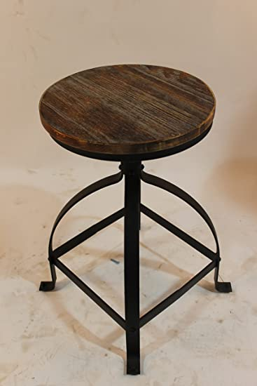 vintage industrial bar stools with backs retro uk used for sale metal frame wood top adjustable height swivel round seat dinning chair