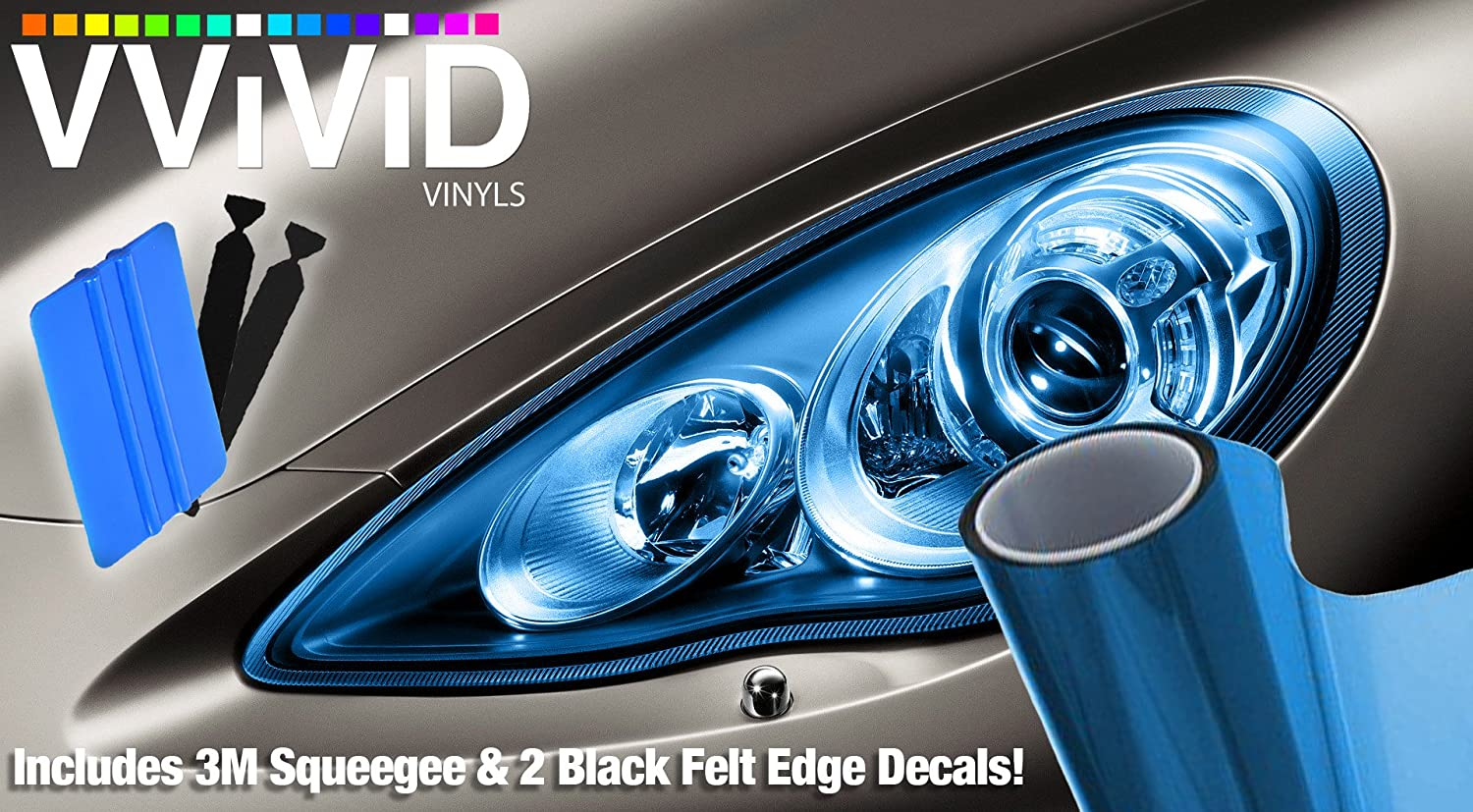 VViViD Extra-Wide Headlight Taillight Vinyl Tint Wrap 16 x 48 Roll Including Detailer Squeegee /& 2X Black Felt Edge Decals Dark Black