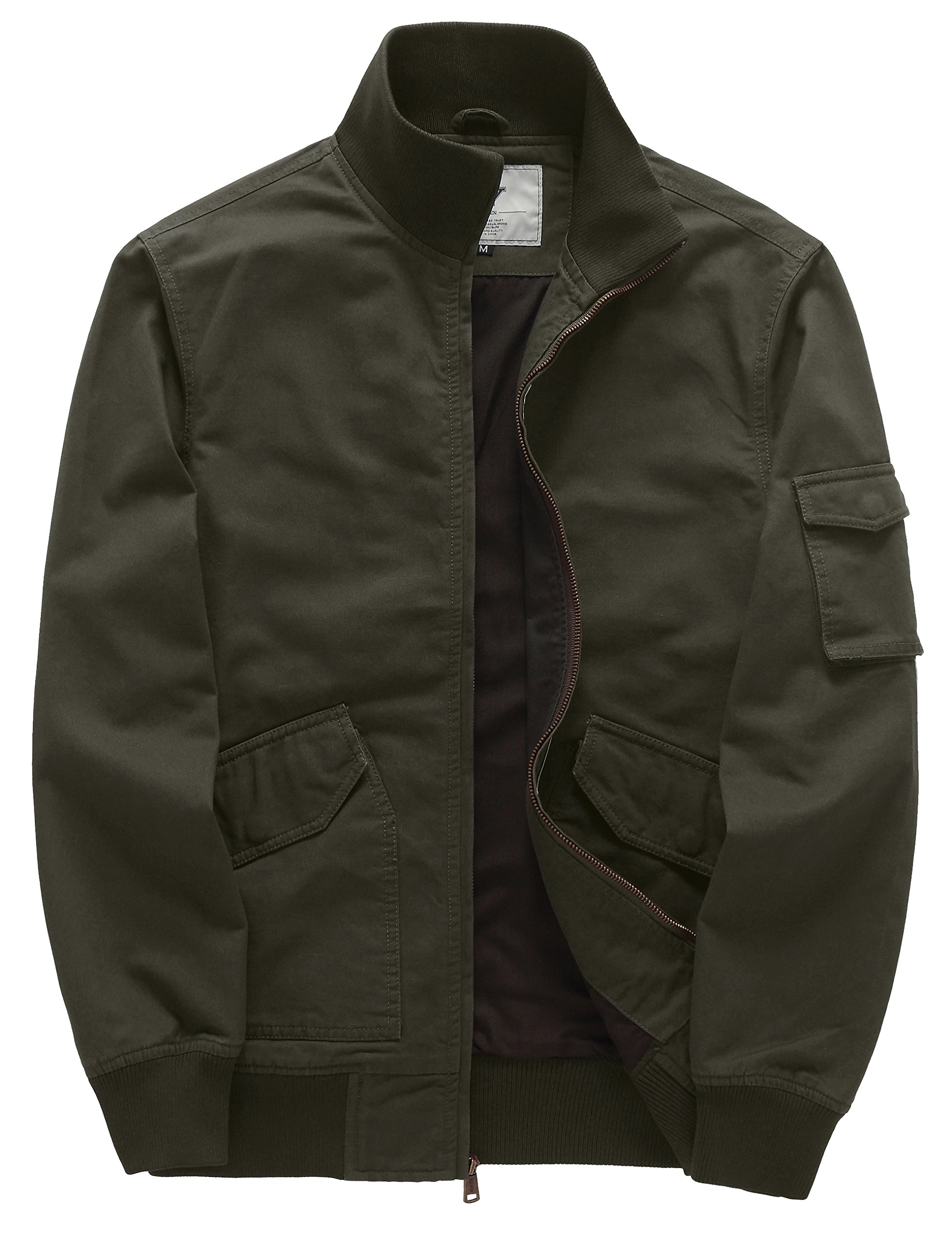 WenVen Men's Cotton Light Weight Work Bomber Flight Windbreaker(Army Green,Medium)