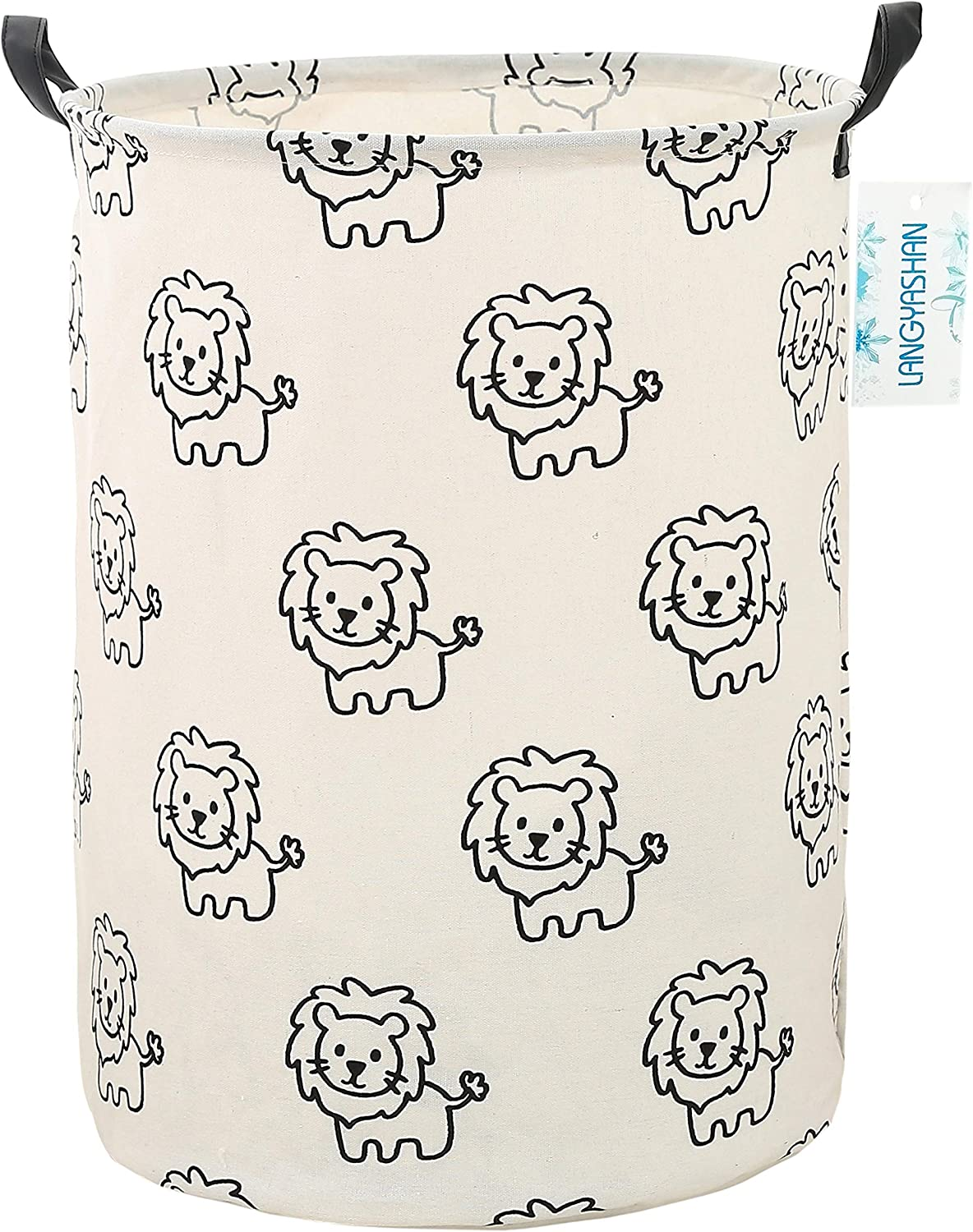 Gery Wave Bedroom LANGYASHAN Storage Bin,Canvas Fabric Collapsible Organizer Basket for Laundry Hamper,Toy Bins,Gift Baskets Clothes,Baby Nursery