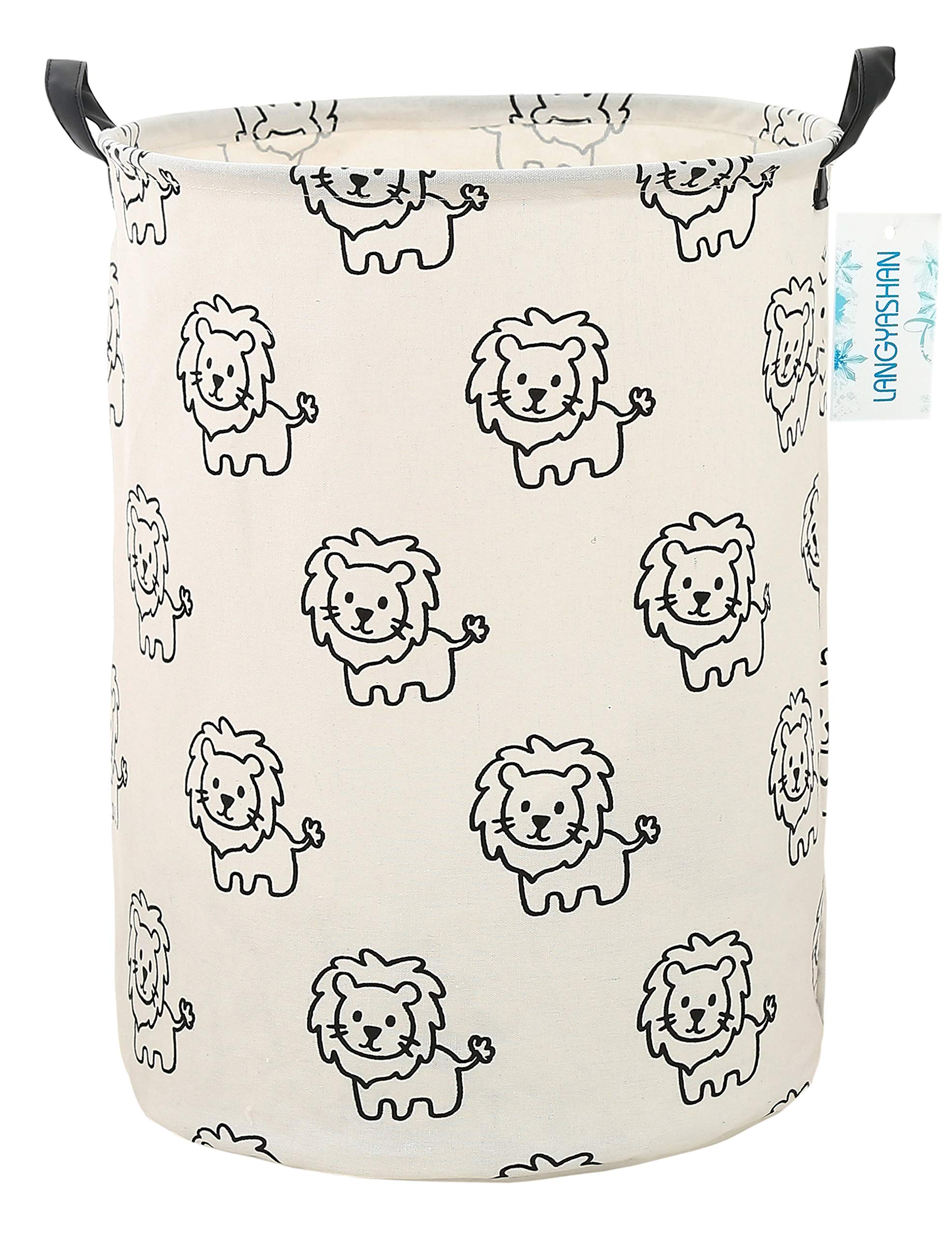 LANGYASHAN Storage Bin,Canvas Fabric Collapsible Organizer Basket for Laundry Hamper,Toy Bins,Gift Baskets, Bedroom, Clothes,Baby Nursery(Lion)