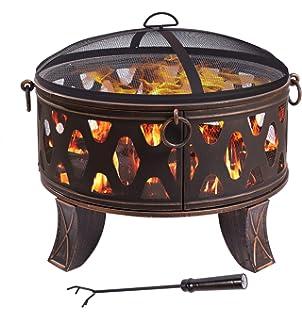 Tazón de fuente de fuego de acero 70,5cm antiguo hogar de estilo clásico negro cesta de fuego…