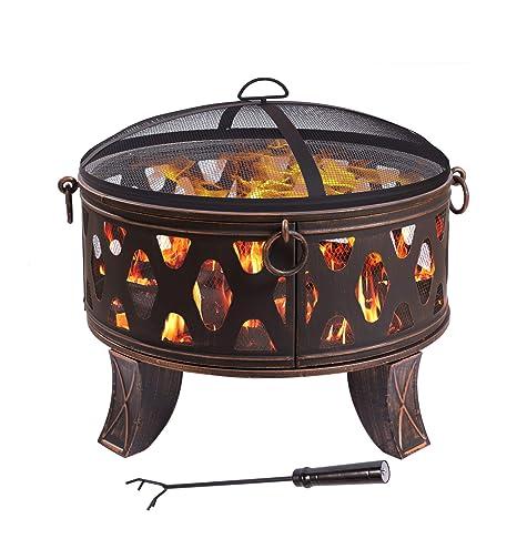 Tazón de fuego de acero 70,5 cm hogar antiguo estilo clásico negro cesta de fuego patas de póquer robustas tapa protectora chispa tapa