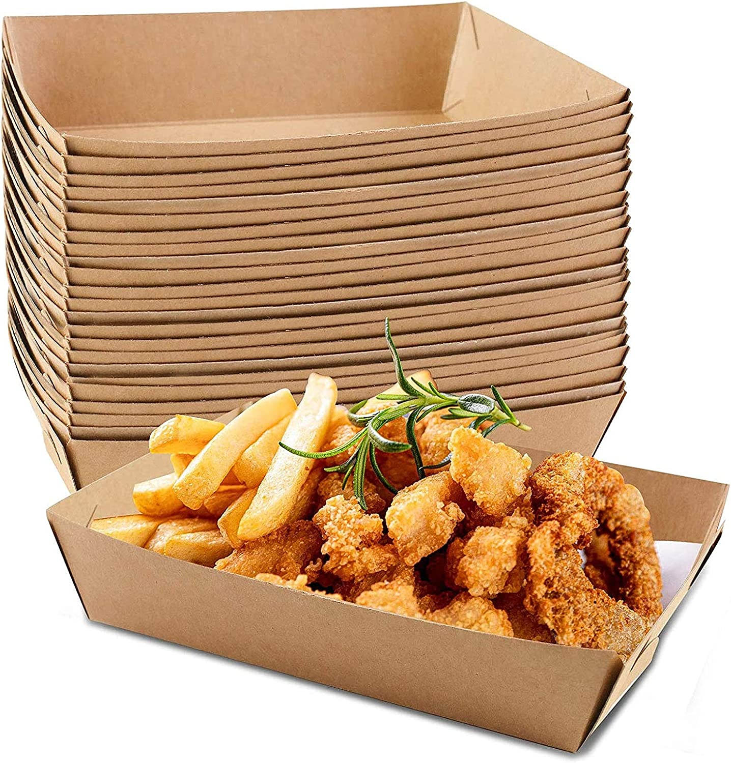 MHGLOVES Disposable Kraft Paper Food Serving Tray, French Fries Chicken Hot Dog Box Trays, Kraft Paper Coating Boat Shape Snack Open Box Trays for Party Supplies (100Pcs)