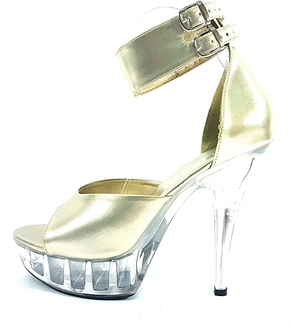 "MicheleX 7909 Black PVC 6/"" Stiletto Heel Shoes"