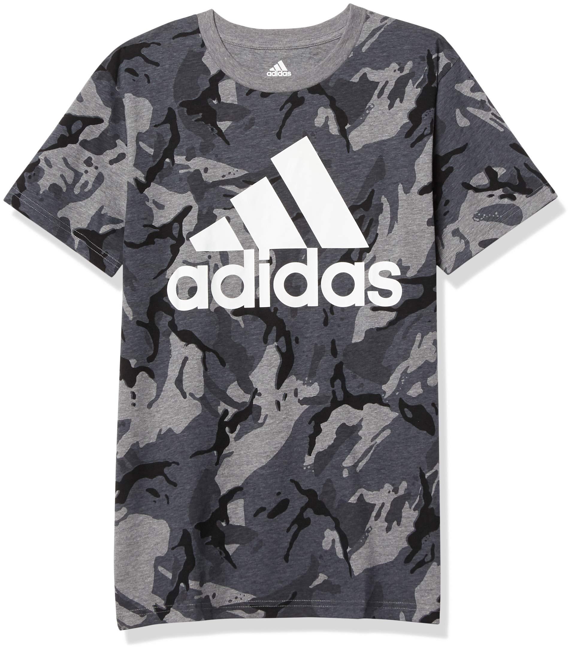 adidas Boys' Short Sleeve Cotton Jersey Logo T-Shirt Tee- Buy ...