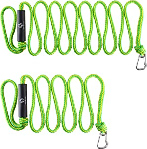 Obcursco Premium PWC Dock Lines, Heavy Duty Braided Line, Marine Rope for Jet Ski,Watercraft, Small Boat, Kayaking, Marine Sets of Two Ropes with 316 Stainless Steel Clip ,(Green/Yellow)