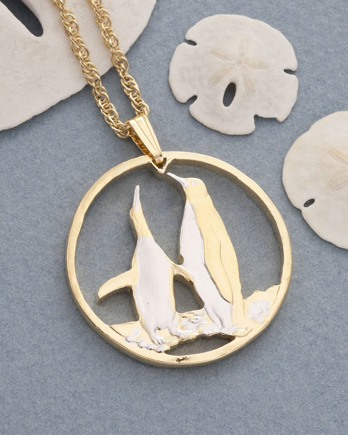 # 388 Falkland Island Coin Hand Cut 1 1//8 in Diameter, Penquins Pendant and Necklace