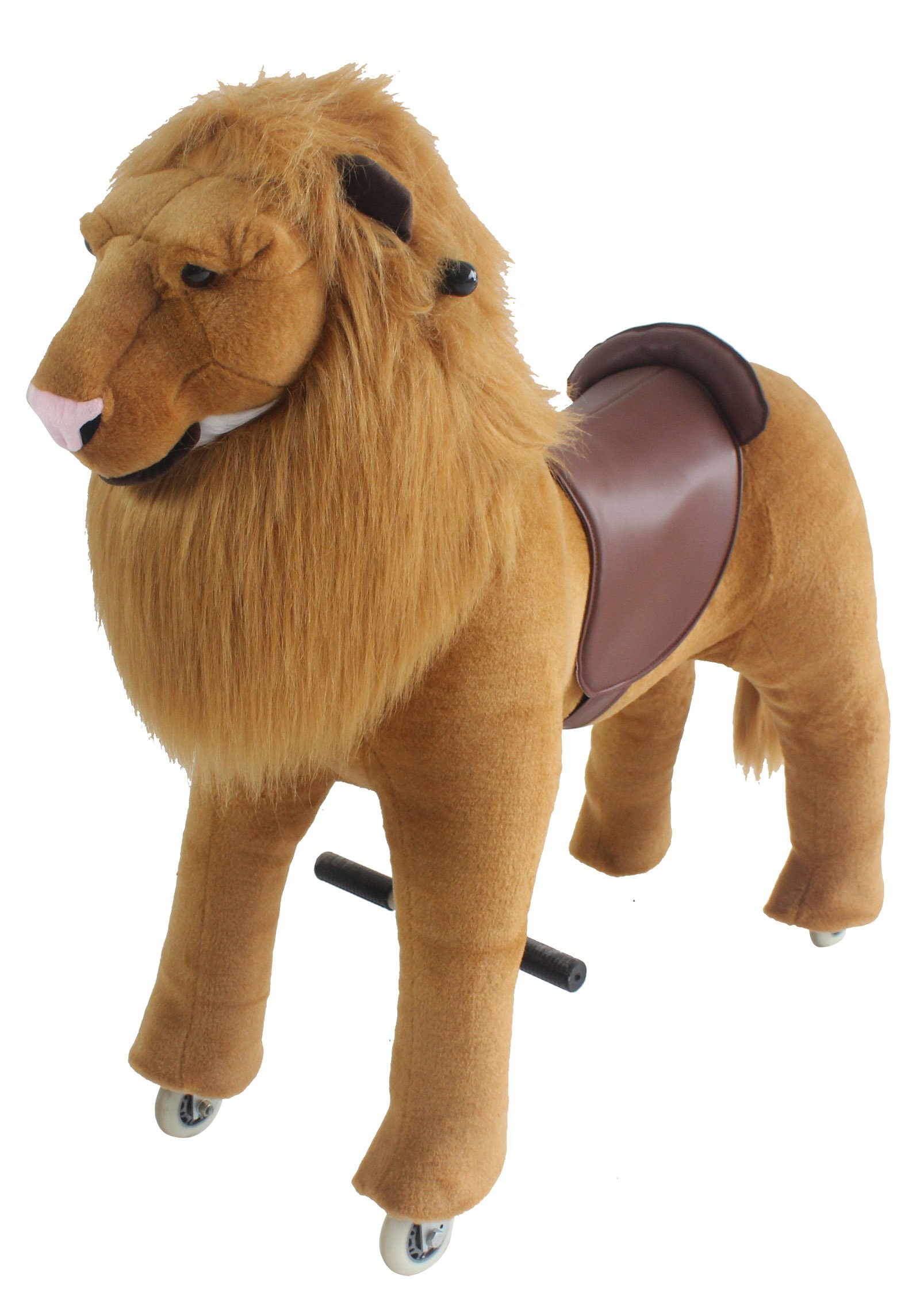 Mechanical Ride on Lion Simulated Horse Riding on Toy Ride-on without Battery or Power: More Comfortable Riding with Gallop Motion for Kids 5-12 Years