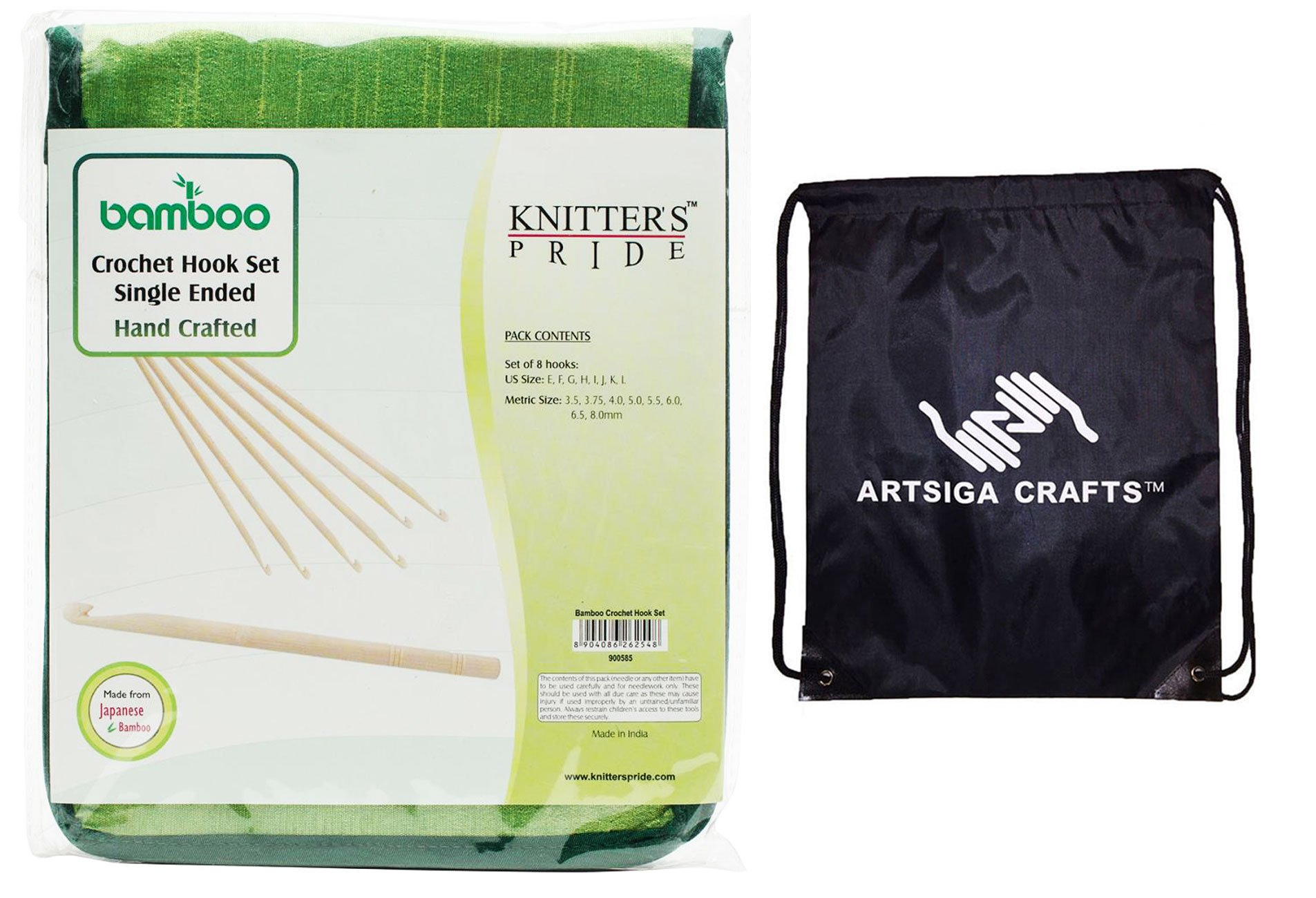 Knitter's Pride Bamboo Single Ended Crochet Hook Set Bundle with 1 Artsiga Crafts Project Bag 900585