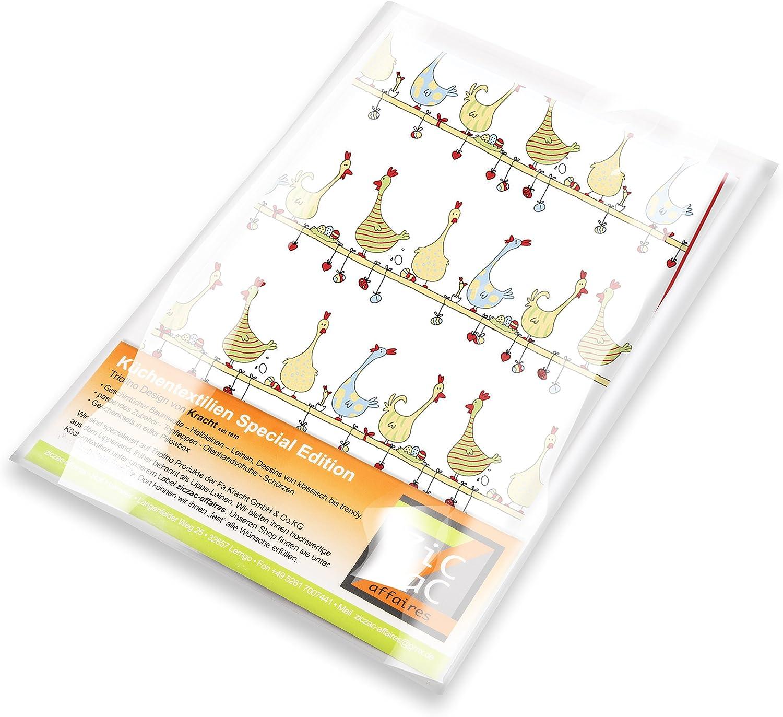 Halbleinen bedruckt H/ühner auf der Stange Edition ziczac-affaires KRACHT 3er-Set Geschirrtuch Ostern ca.50x70cm