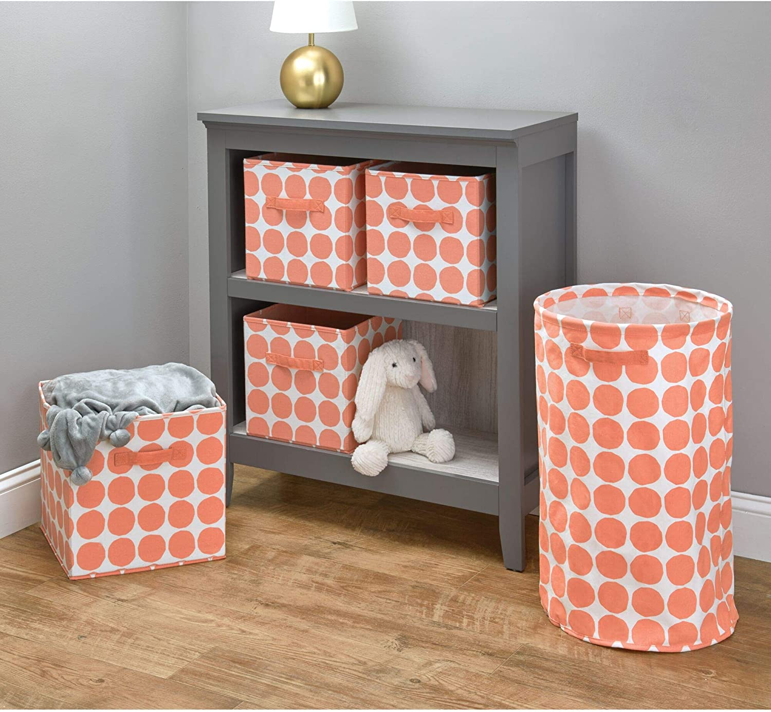 Bedroom and Nursery iDesign Canvas Storage Box Polka Dot Fabric Box for the Cupboard Orange Medium Foldable Toy Box Made of Cotton//Polyester Mix with 2 Handles