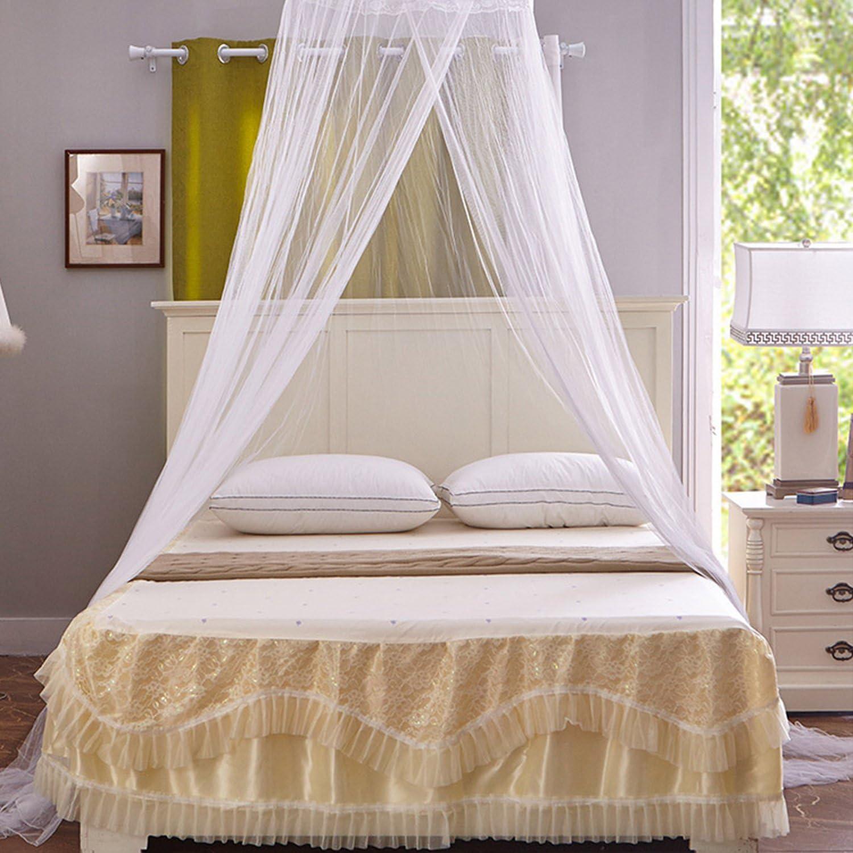 Mture Moustiquaire Ciel de lit,Grande Moustiquaire Baldaquin pour Lit Double Blanc Un R/épulsif pour Les Insectes Contre Le Paludisme et Zika,Irritation de la Peau Non
