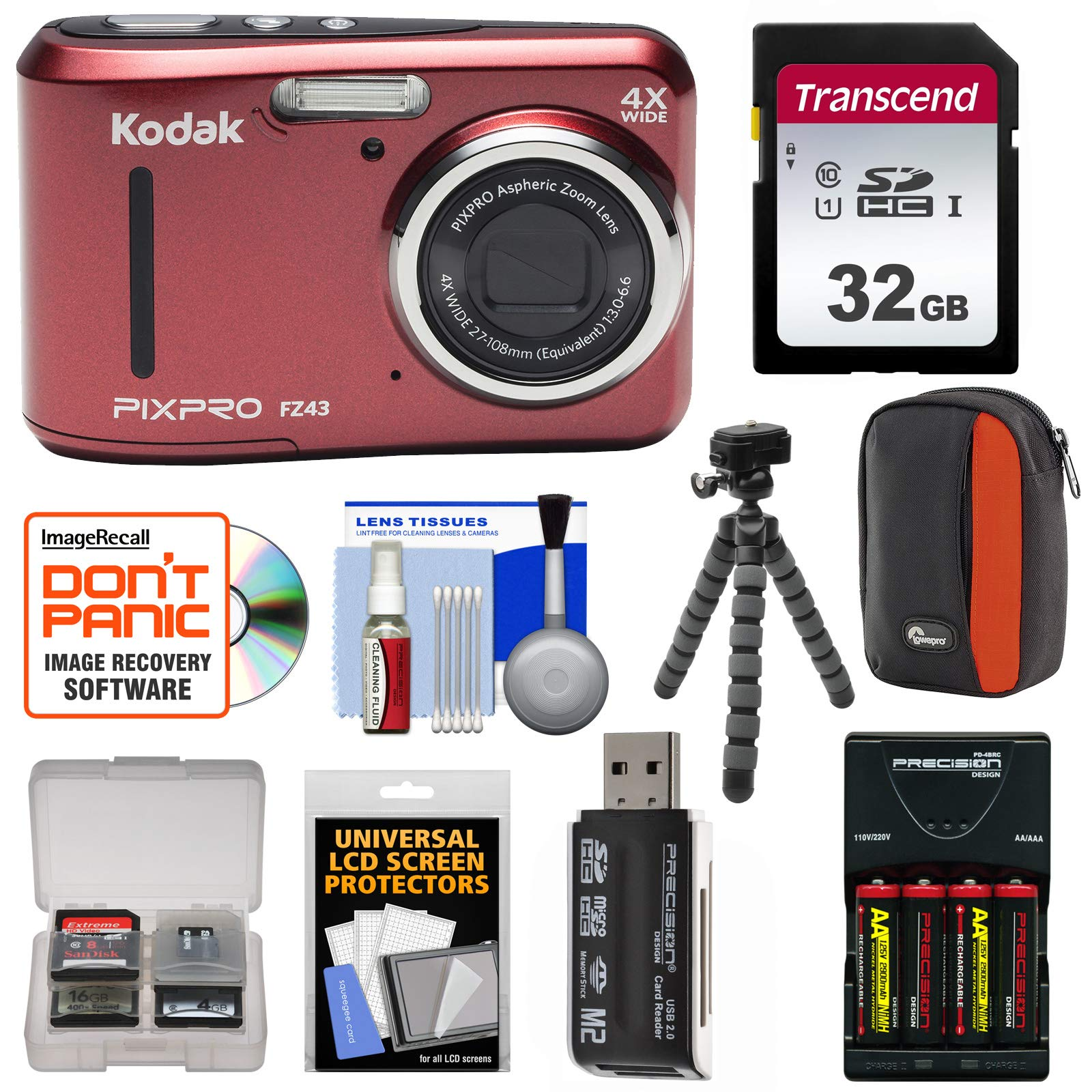 KODAK PIXPRO Friendly Zoom FZ43 Digital Camera (Red) with 32GB Card + Batteries & Charger + Case + Flex Tripod + Kit