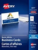 """Avery Perforated Business Cards for Inkjet Printers, 2"""" x 3-1/2"""", White, Matte Coated, 250 Pack, Rectangle (8371)"""