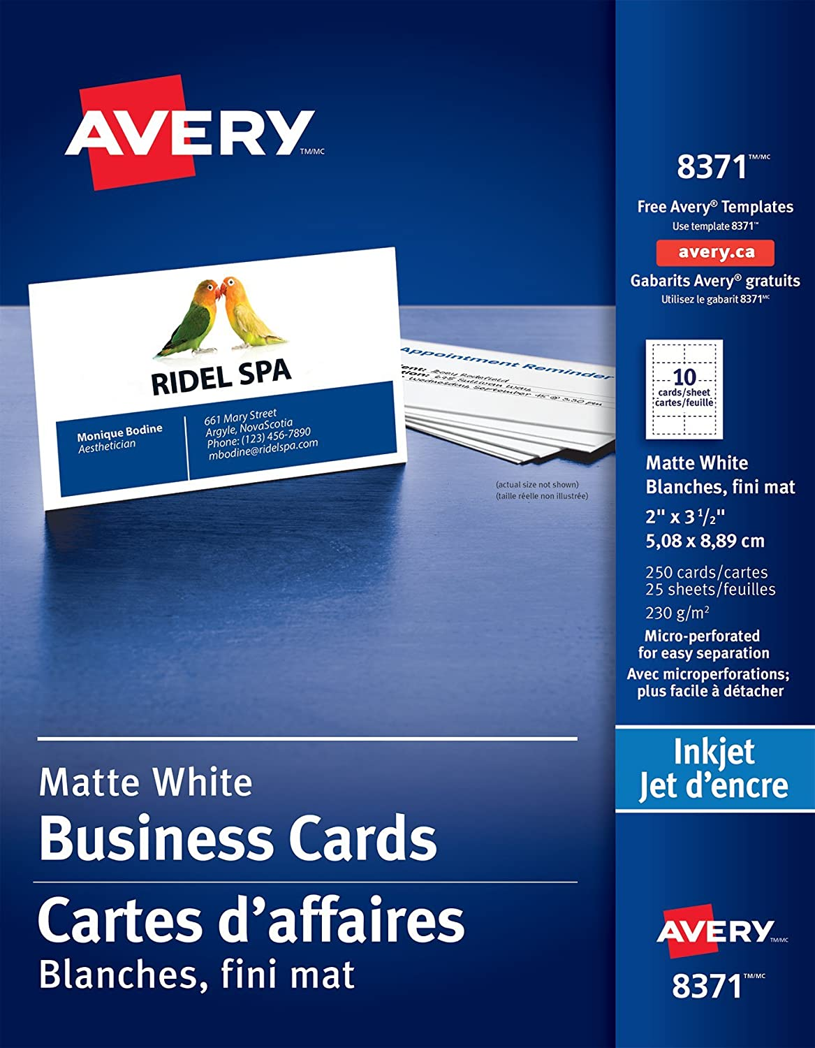 Avery Perforated Business Cards for Inkjet Printers, 2 x 3-1/2, White, Matte Coated, 250 Pack, Rectangle (8371) 2 x 3-1/2 08371