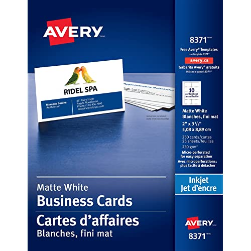 Business cards amazon avery perforated business cards for inkjet printers 2 x 3 12 reheart Gallery