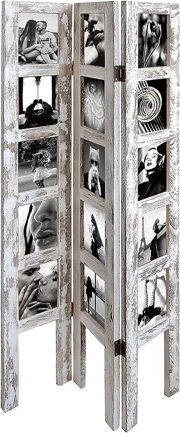 Rebecca SRL Marco Portafotos Urban 3 Paneles Madera Blanco Estilo Vintage Retro Pasillo Dormitorio (Cod. x-1593): Amazon.es: Hogar