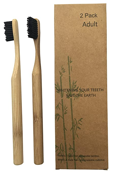 Set de cepillos de dientes 2 unidades de bambú con mango madera redondean bambú y de