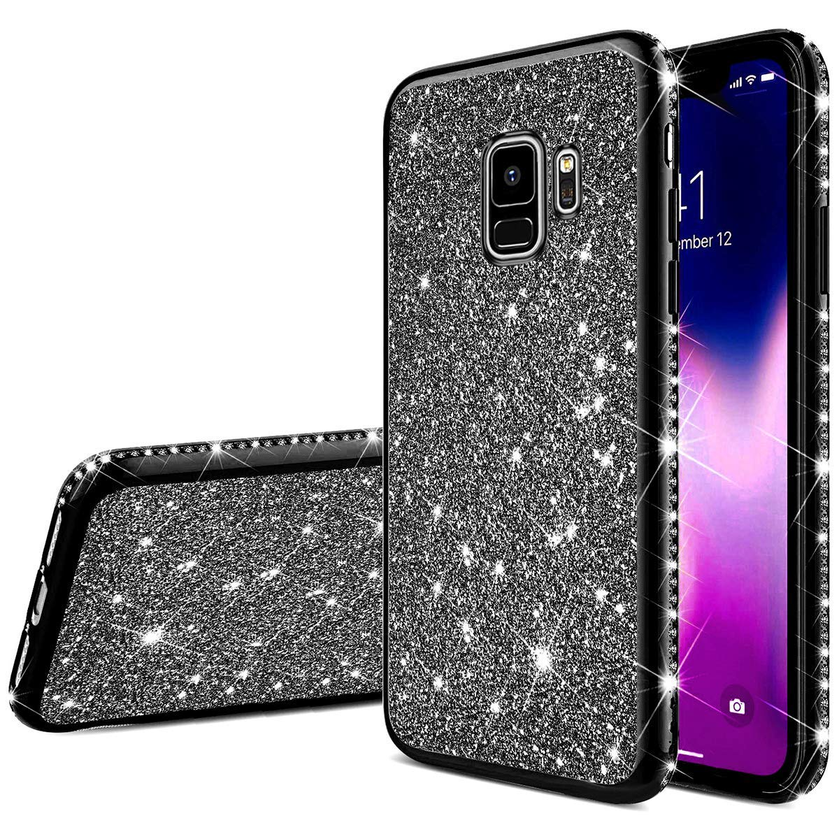 Uposao Compatible with Samsung Galaxy S9 Case Glitter Cute Girl Women Bling Crystal Diamond Rhinestone Clear Protective Phone Case Cover Shockproof TPU Rubber Silicone Cover,Rose Gold