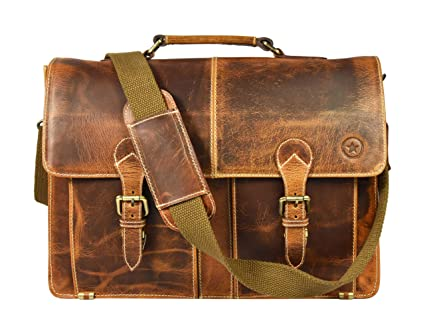 5750ecc5fb1b Image Unavailable. Image not available for. Color  16 quot  Leather  Briefcase Messenger Bag for Laptop by Aaron ...