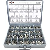 18-8 (304) Stainless Steel Hex Cap Screws Bolts Nuts Washers Assortment Kit - 574 Pcs!