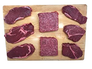Bison Ground & Steaks Combo Pack: 100% All-Natural, Grass-Fed and Grain Finished North American Bison Meat with no Growth Hormones or Antibiotics - USDA Tested - 8 Piece of Tender, Flavorful Meat