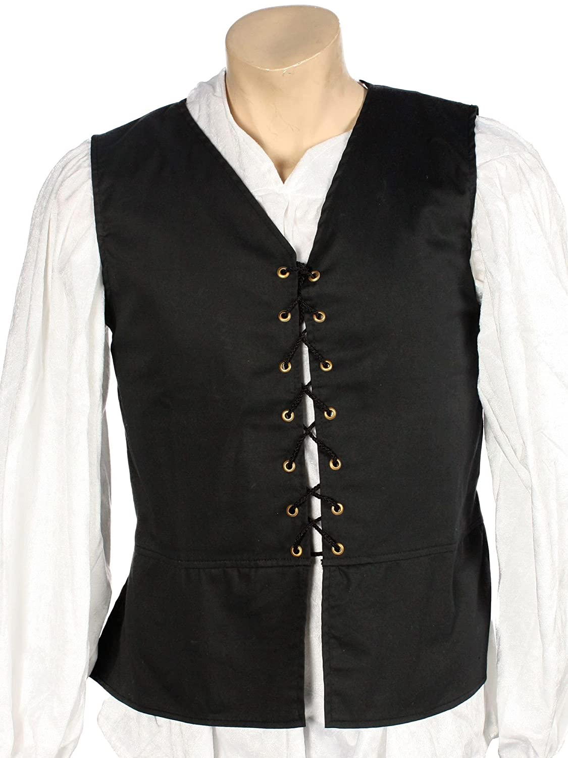 Menu0027s Medieval Renaissance Black Cotton Blend Vest - DeluxeAdultCostumes.com  sc 1 st  Deluxe Theatrical Quality Adult Costumes & Menu0027s Medieval-Renaissance Tunics Shirts Gambesons and Vests ...