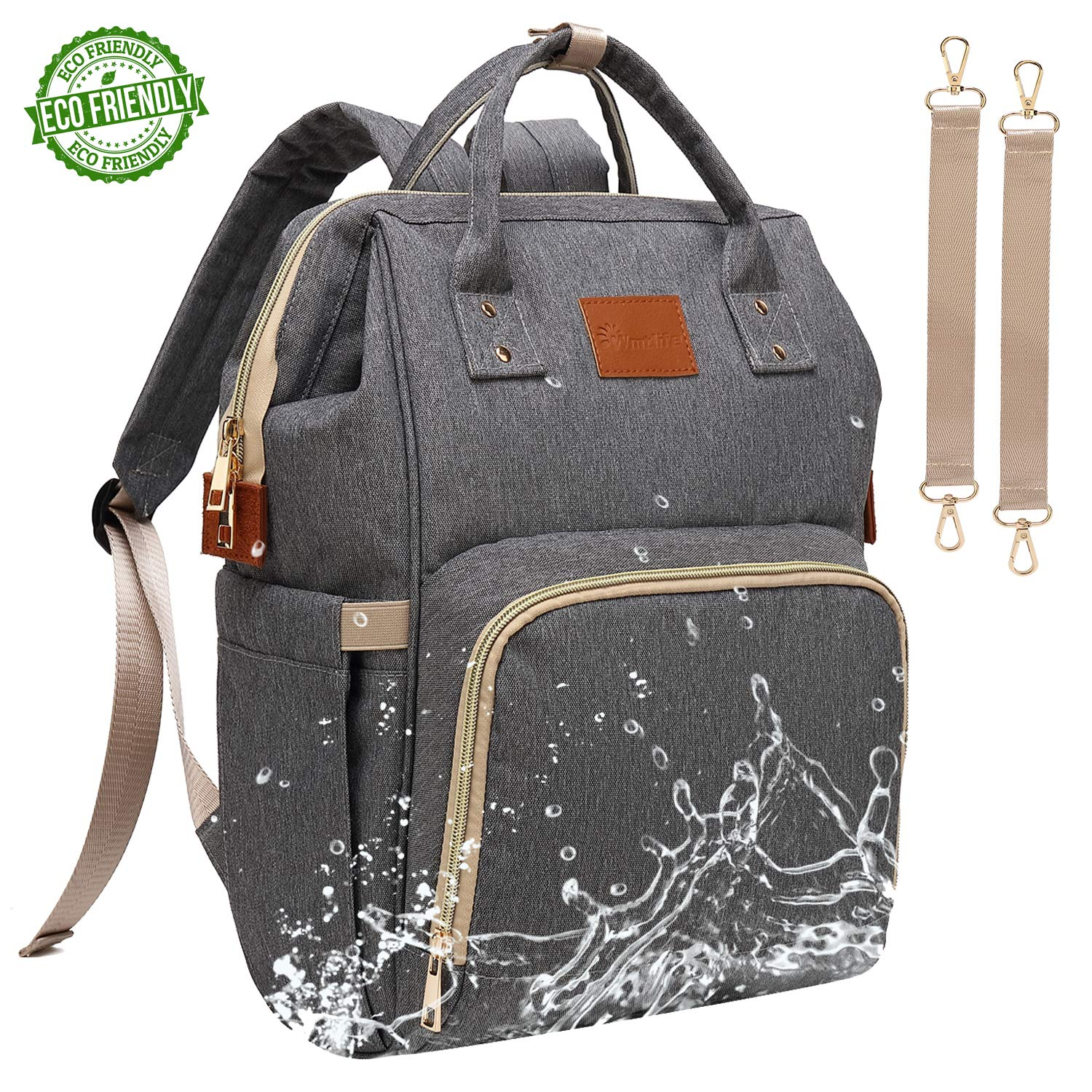 8c4d09e3c03d Amazon.com   Baby Diaper Bag Backpack - Large Diaper Backpack for Mom Dad  with Stroller Straps