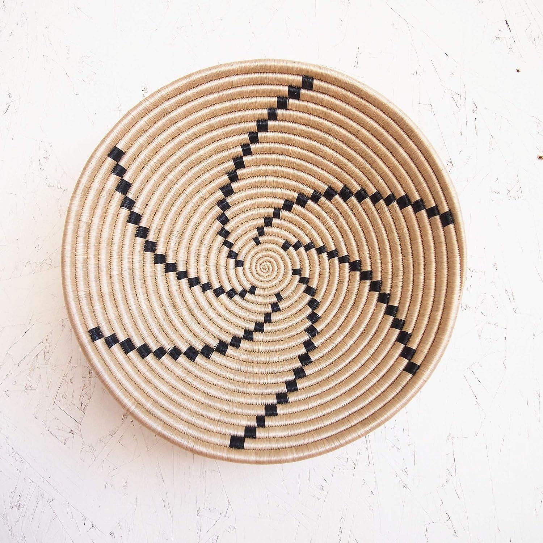 African Basket- Tanga/Rwanda Basket/Woven Bowl/Sisal & Sweetgrass Basket/Tan, Black