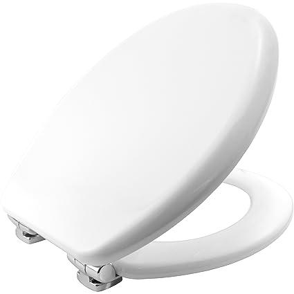 Bemis Vegas STA-TITE 4403CL Toilettensitz, aus Formholz, mit verchromten Silentium-Scharnieren, Weiß