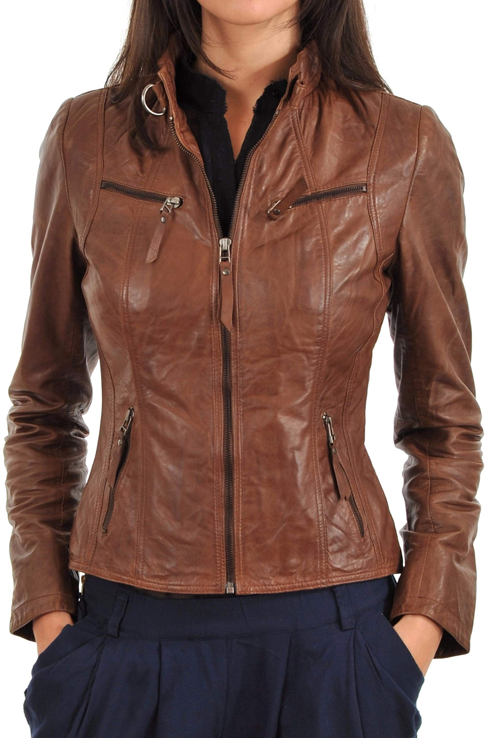 01b4b78565e4 Womens Leather Jacket Bomber Motorcycle Biker Real Lambskin Leather Jacket  for Womens