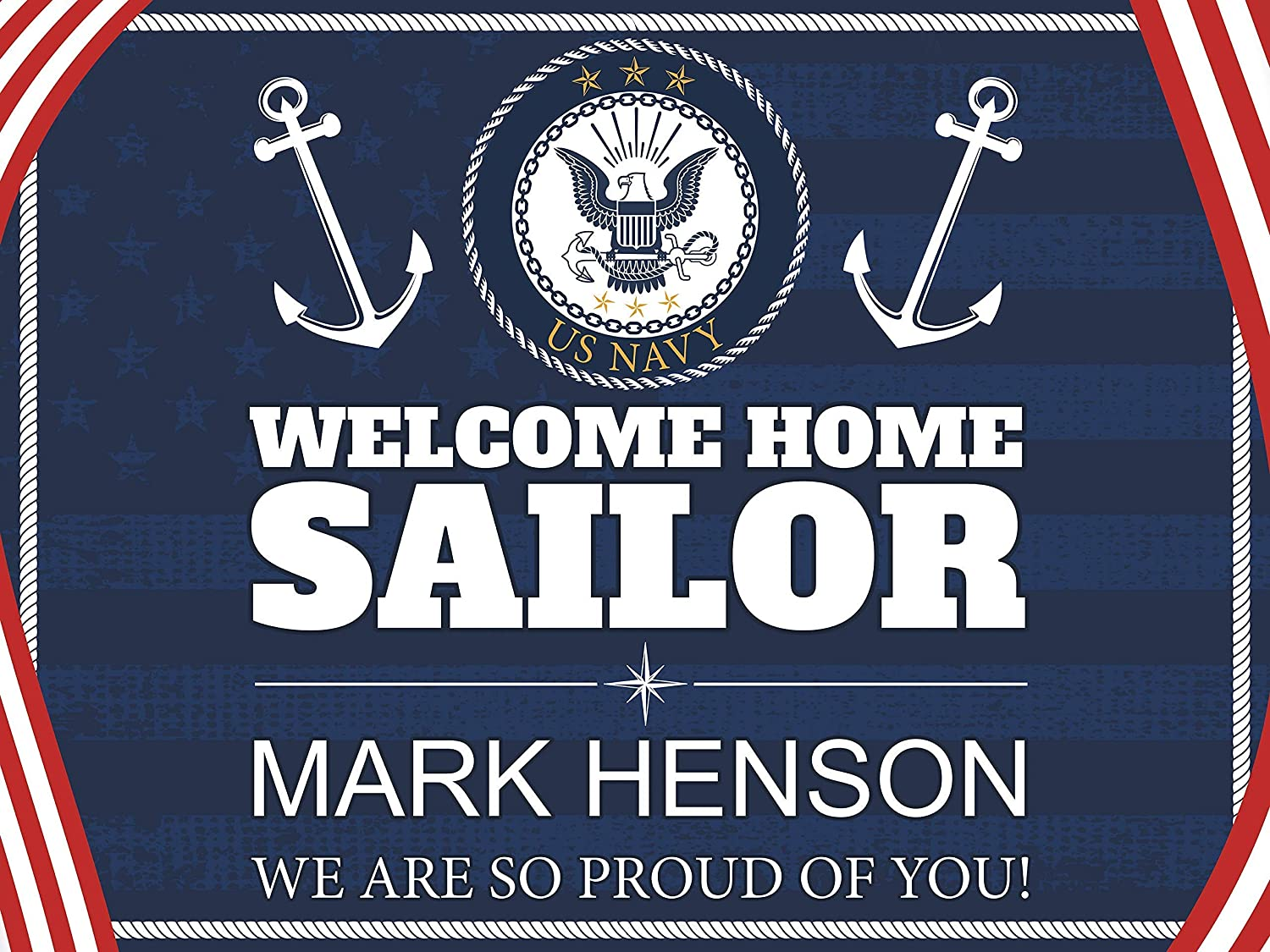US Navy Welcome Home Banner, US Navy Banner, Navy Welcome Home Banner, US Navy Decor, Military Banner, Welcome Celebration, Welcome Home Banner, Family Reunion Poster, Size 48x36, 48x24, 36x24, 24x18