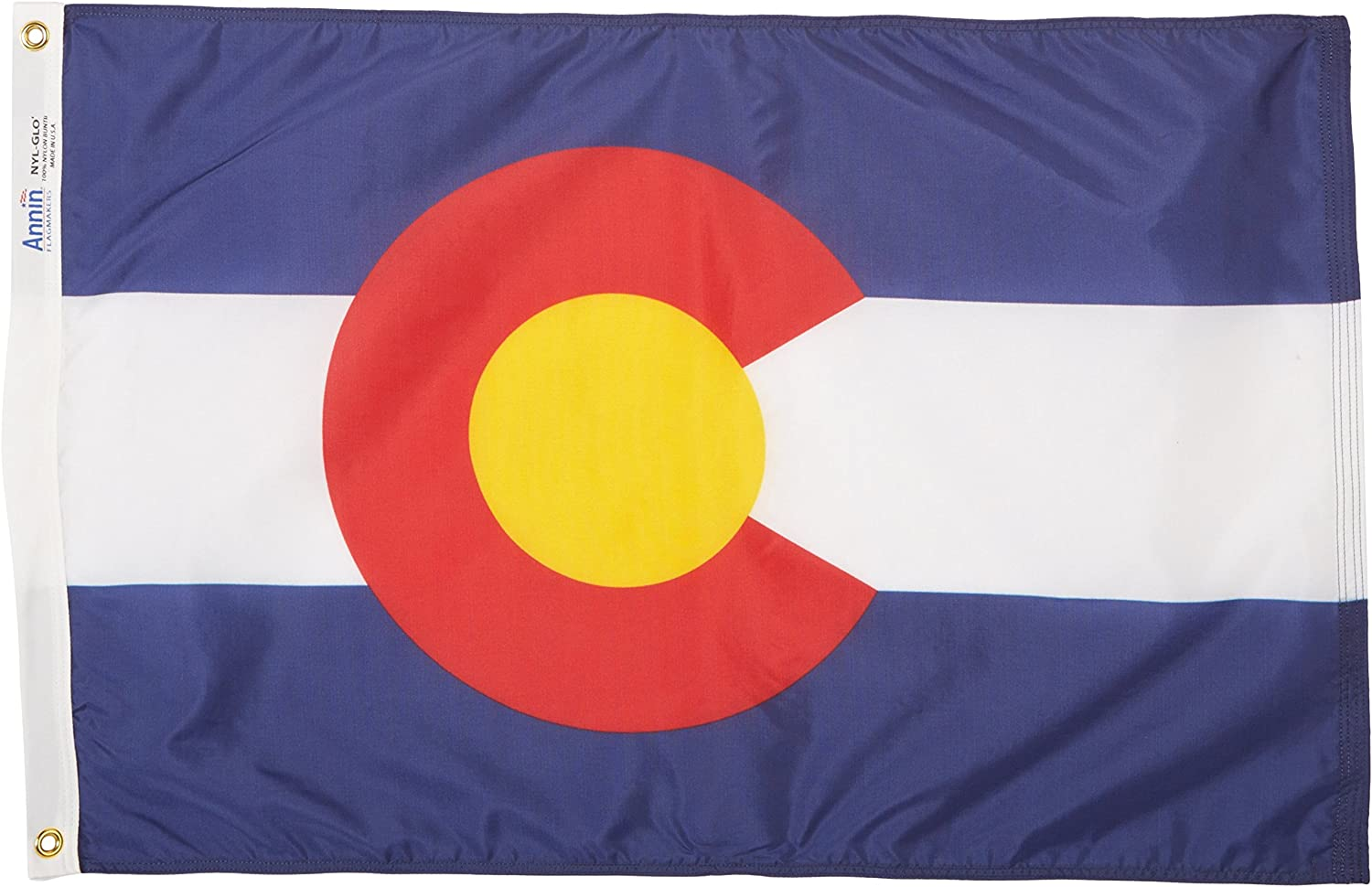 Annin Flagmakers Model 140650 Colorado Flag Nylon SolarGuard NYL-Glo, 2x3 ft, 100% Made in USA to Official State Design Specifications