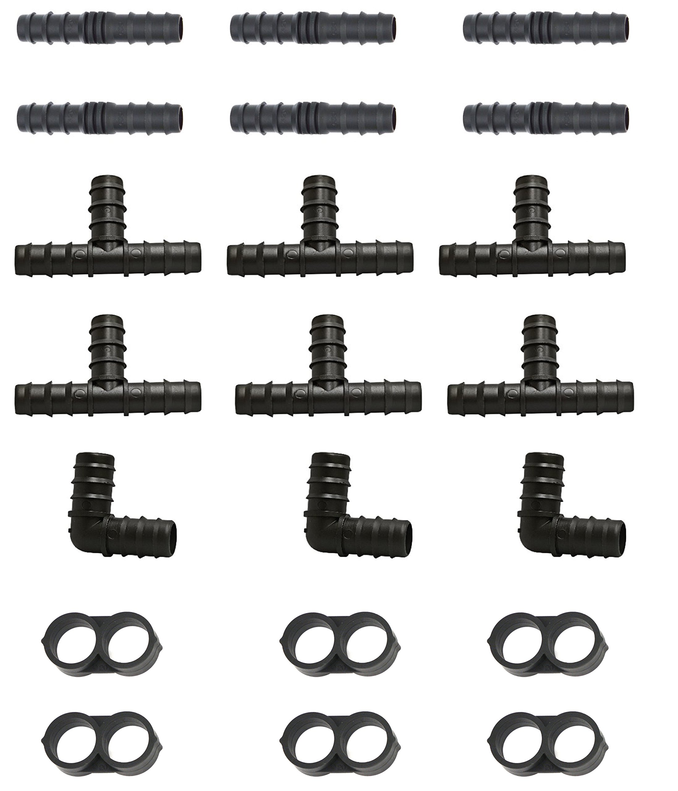 perhonor Irrigation Fittings for 1/2'' Tubing 6 Tees 6 Couplings 3 Elbows 6 Tubing End Caps for Compatible Drip and Rain Bird or Plant Watering System- 21 Piece Set for Drip Irrigation Systems