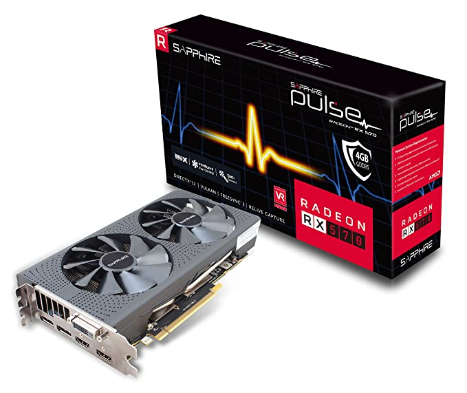 Sapphire Technology Sapphire 11266-04-20G Radeon PULSE RX 570 4GB GDDR5 DUAL HDMI / DVI-D / DUAL DP OC with backplate (UEFI) PCI-E Graphics Card Components at amazon