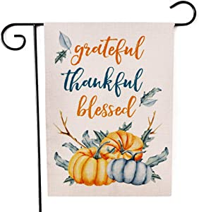 Grateful Thankful Blessed Pumpkins Garden Flag Double-Sided Farmhouse Autumn Yard Burlap Banner,Flag for Fall,Thanksgiving Indoor Outdoor Decoration 12.6