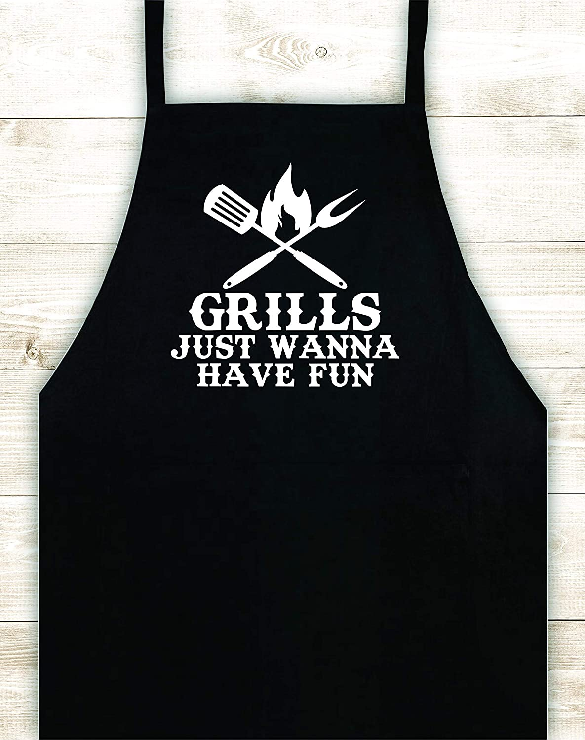 Grills Just Wanna Have Fun Apron Custom Design Heat Press Vinyl BBQ Cook Bake Baking Grill Barbeque Chef Funny Gift Cow Steak Men Pig Party Bake Girls Food Dad Father Gift Birthday Grandmpa