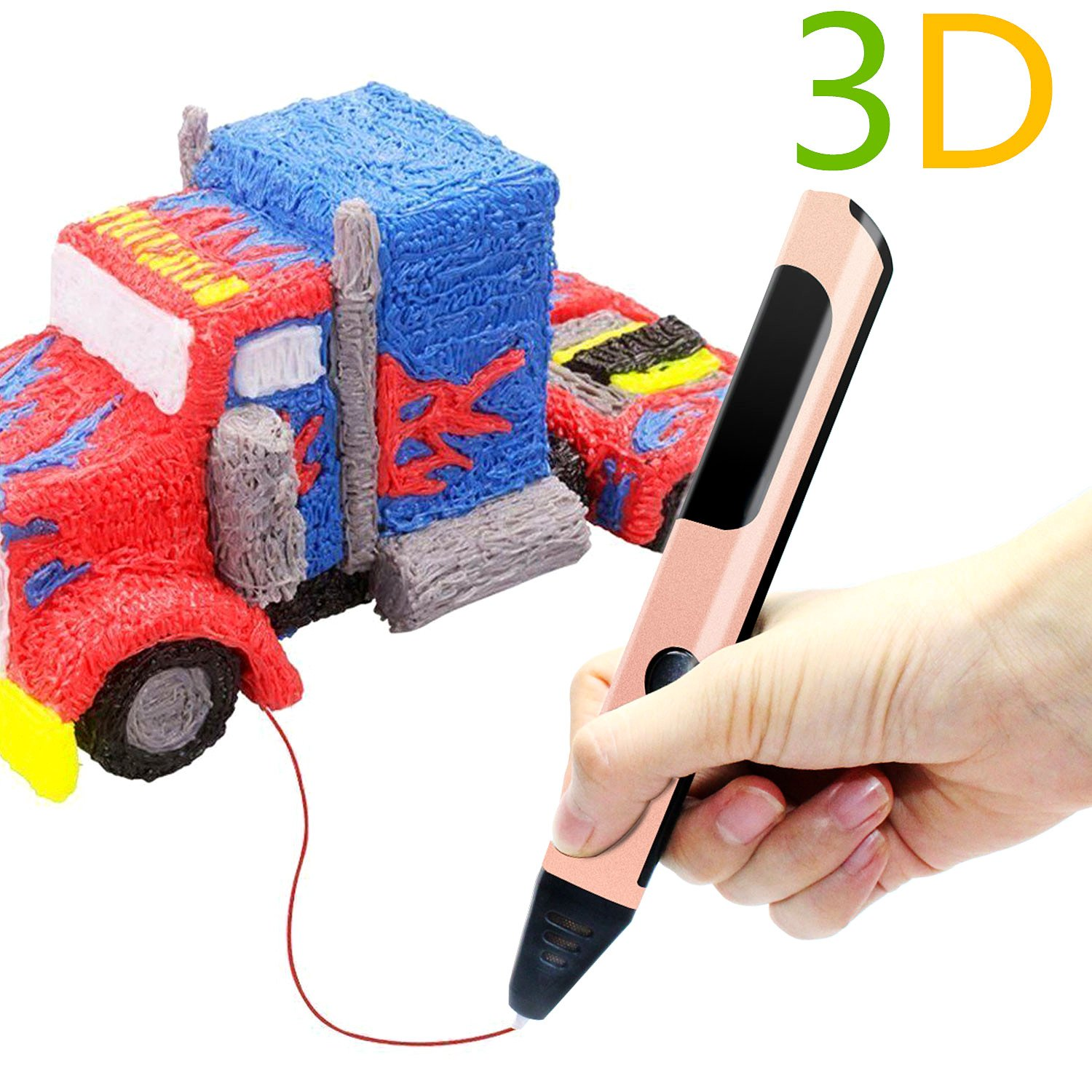 3D Printing Pen, Intelligent 3D Pen Gifts and Toys for Boys & Girls-Modern Arts and Crafts Compatible with PCL Filament + 2 Free 1.75mm Filament Refills AL' IVER