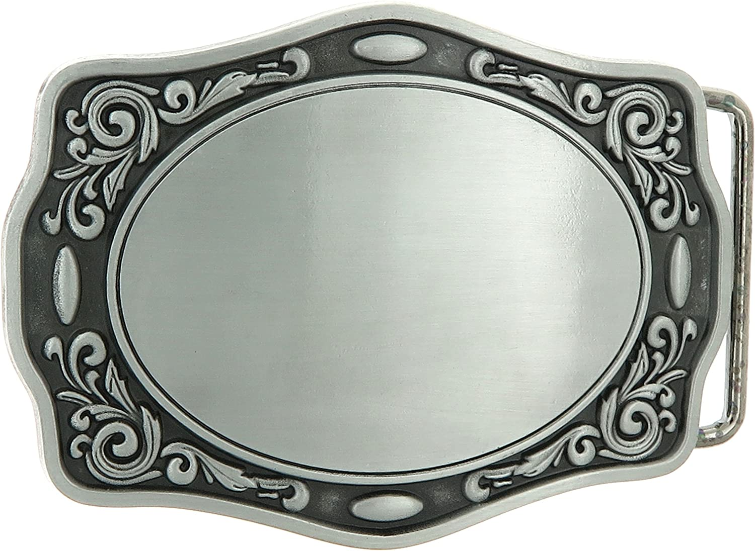 Blank Flower Trim Oval Western Metal Fashion Belt Buckle