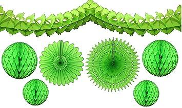 Amazon Com 7 Piece Lime Green Honeycomb Party Decoration Set
