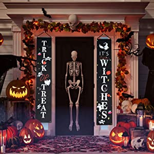 Halloween Decorations Banner Outdoor - Trick or Treat Porch Decorations for Front Door or Indoor Home Decor Hocus Pocus Home Welcome Signs Party Decorations Halloween Garden Flag