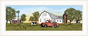 Trendy Decor4U Summer on The Farm by Billy Jacobs Printed Wall Art, 27 Inch x 11 Inch, White Frame