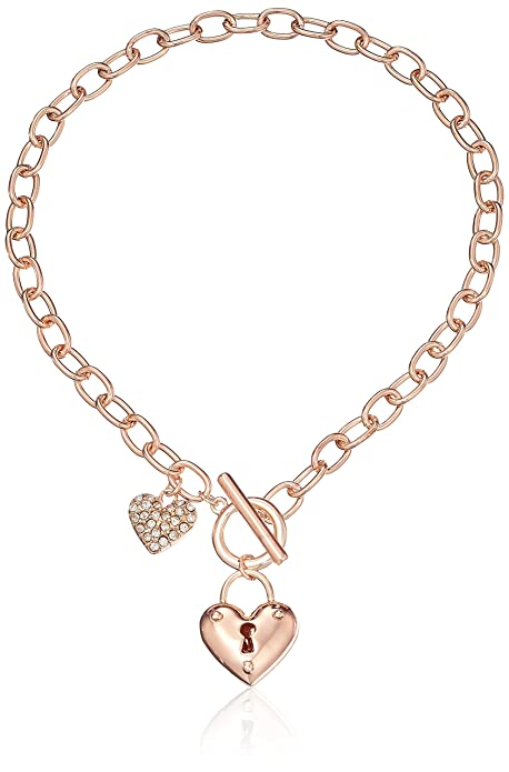 Guess Heart Lock Charm Toggle Link Charm Bracelet