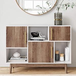 Nathan James 75501 Ellipse Multipurpose Display Storage Unit Entryway Furniture, White