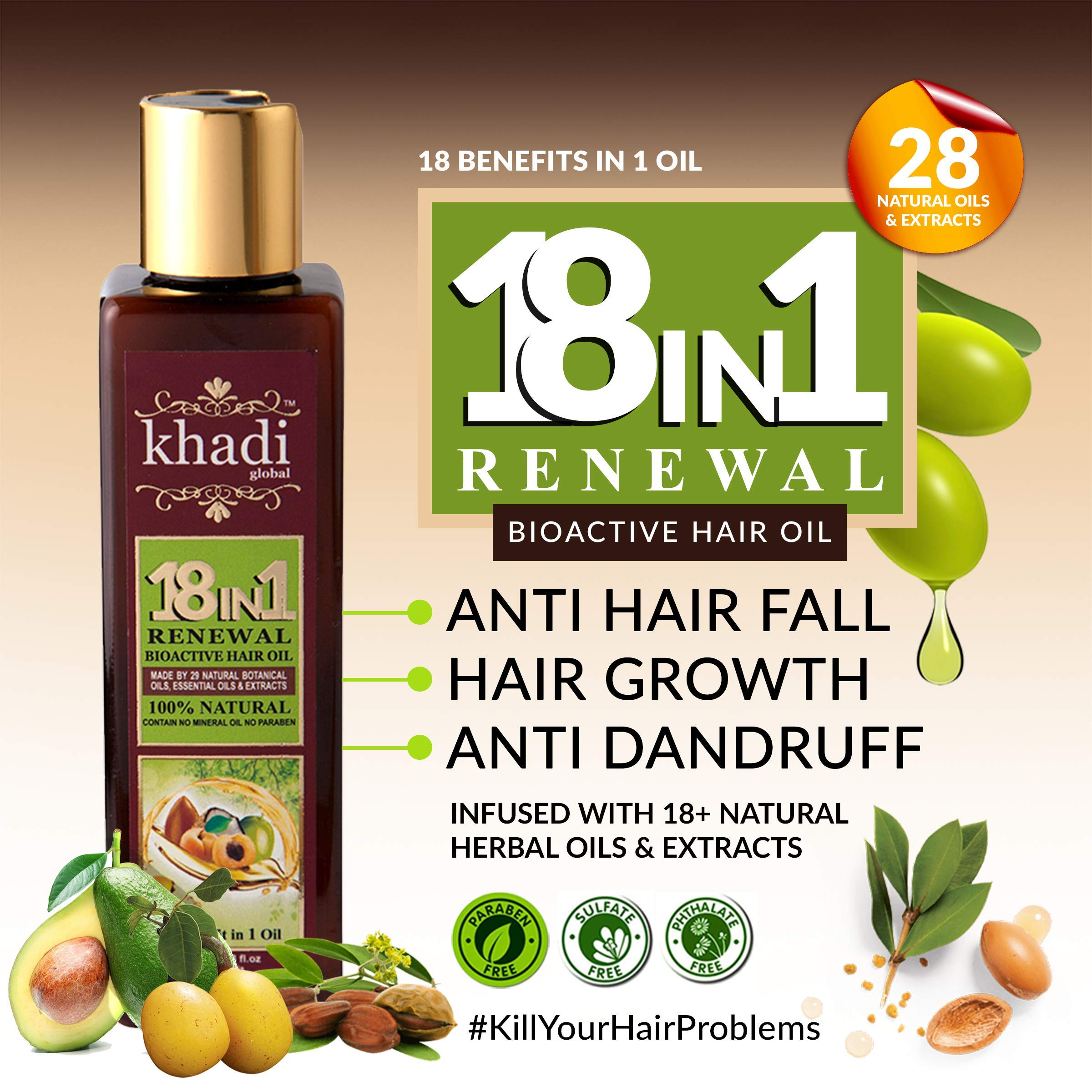 Khadi Global 18 In1 Renewal BioActive Hair Oil with 18+ Natural Herbal Oils and Extracts for All Type of Hair Problem (200 ml/6.76 fl.oz) product image