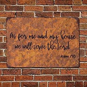 godblessign As for Me and My House We Will Serve The Lord Metal Sign,Quote Saying Words Aluminum Sign,Vintage Signs Wall Decor Men Cave Unique Christmas Sign,Bar Tin Sign Retro Style